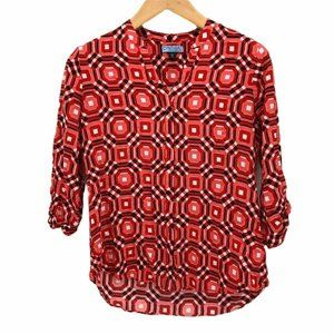 Cynthia Rowley Womens Blouse Multicolor High Low M